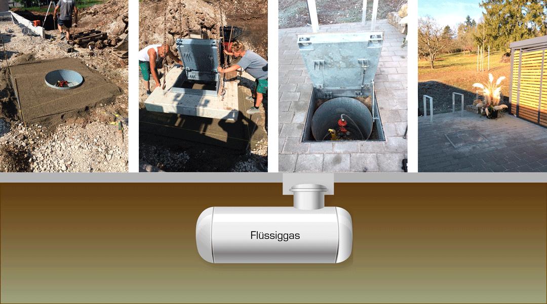 Gut versteckt: überfahrbarer Flüssiggas-Tank