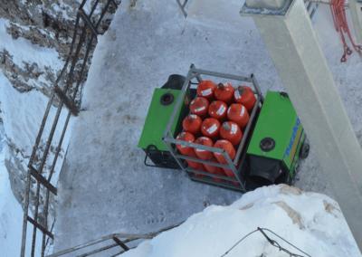 Zugspitze Baustelle Gasflaschen Heizluftgebläse Heizung Propan